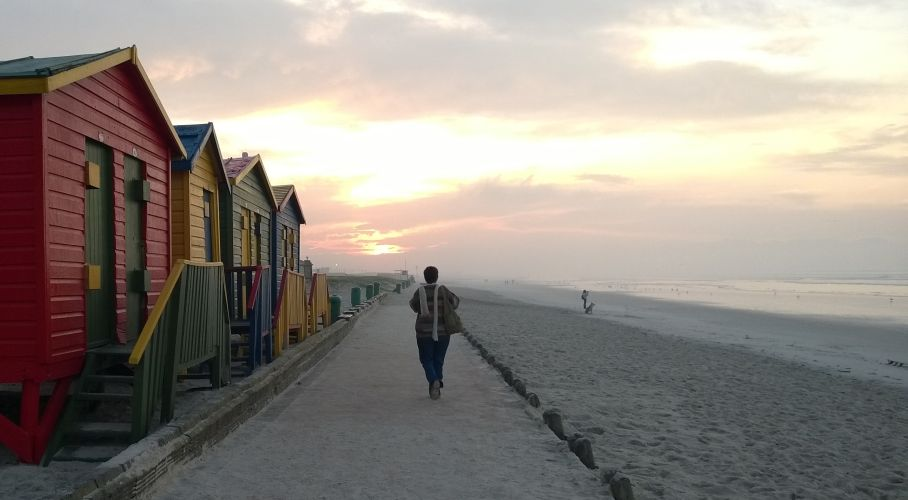 Bathing boxes at Muizenberg beach Cape Town