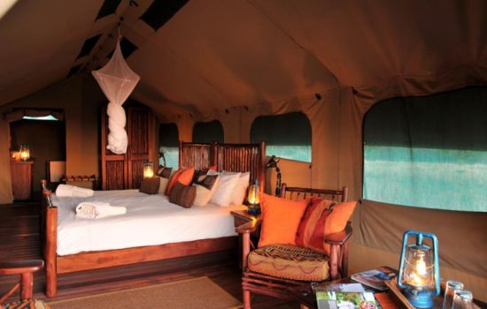 Safari tent interior at Kwafubesi