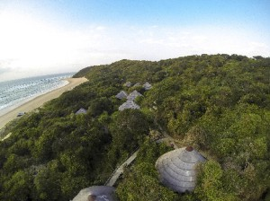 Luxury chalets of Thonga Beach Lodge just above the beach, KwaZulu-Natal