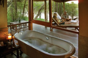 Bathtub and deck at Imbali Safari Lodge, Kruger National Park