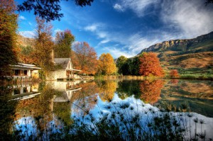 The well-known Drakensberg Mountains in KwaZulu-Natal: Cleopatra Mountain Farmhouse is beautifully set in the Kamberg Valley