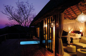 The wilderness by night from the deck of your private suite: Leopard Hills Private Game Reserve, Sabi Sand