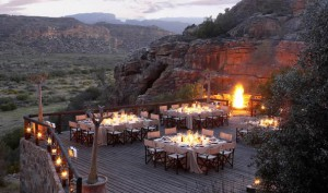 One of several supreme dining venues at Bushmans Kloof