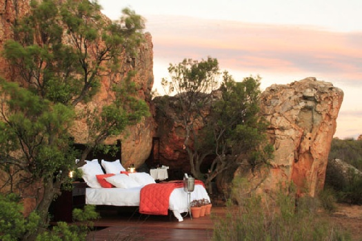 Unique holiday accommodation Western Cape Kagga Kamma open-air sleepout Cederberg South