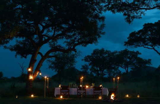 A bush dinner under big African skies at Ulusaba is an experience forever cherished